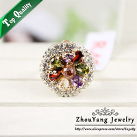 ZYR182 Luxury Crystal Flower Ring 18K Champagne Gold Plated Made with Genuine Austrian Crystals Full Sizes Wholesale