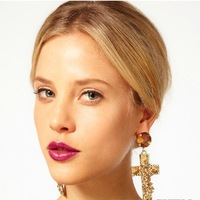 2013 new 138 - 4 fashion accessories full rhinestone rivet cross baroque super large earrings drop earring