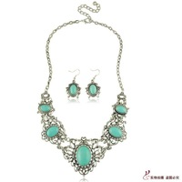 European and American retro hollow carved oval turquoise necklace piece suit New exaggerated jewelry
