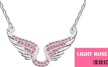 2014 fashion jewelry women necklace cupid wing pendant Made with Austria Crystal SWA Elements Wholesale