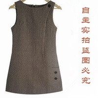 2014 spring women womens coffee basic winter slim woolen tank dress sweet  autumn of sheep sweater vest one-piece dress