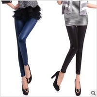 The new European and American style elastic matt leather pants nine points leggings Free shipping