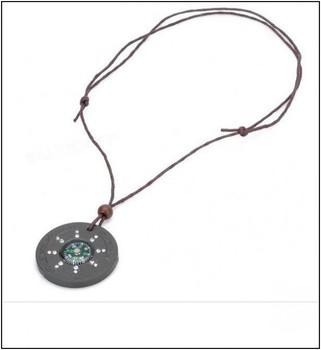 1pcs  with Compass health Stone Necklace Quantum Pendant basalt Iava Scalar Energy Pendant  Crystal Jewelry and Gift Box