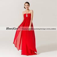 Fashion floor length red chiffon long A line empire formal evening dresses/pregnant women can ware custom-made HoozGee-21002