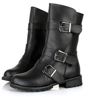 2013 Autumn And Winter Women's Belt Buckle Genuine Leather Motorcycle Boots Knight Boots Leather Boots 889