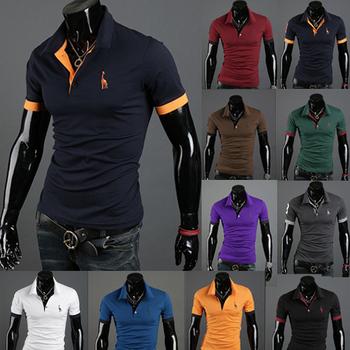 2015 новые люди футболки мужской onta вышивка олень с коротким рукавом топы и тис уменьшают подходящую майка мужчин бренд многоцветный мужская одежда