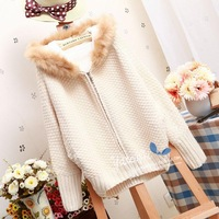 2013 fashion fur collar hooded batwing sleeve berber fleece thermal plus velvet short design thickening sweater outerwear
