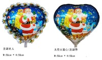 50 PCS/lot  23 inch aluminum film  heart-shaped Santa Claus helium balloons inflatable toy , Christmas party supplies