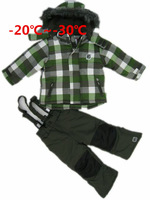 free shipping children windproof warm ski padding jackets+pant children winter snow suit boys' outdoor wear kids' winter wear