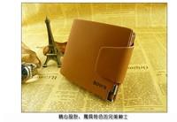 Free Shipping +2013 New short, leather casual buckle women men wallet metal standard/ leather wallet  L0007