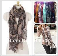 Designer 100% viscose Women floral shawl paisley scarf headband hajib180*95cm europe design brown Women accessories scarves