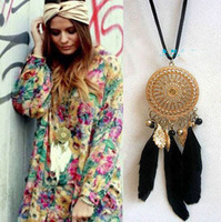 Free shipping,Min order 15$ Fashion Retro Exquisite Indian Feather Leaf Hollow Lace Ring Dream Catcher Bohemia Sweater Necklace