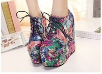 Free shipping,2013 Women newest patchwork floral lace up wedges high heels platform boots shoes,blue,red
