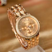 GENEVA Metal Classic Boyfriend Designer Chronograph Style Ladies Rose Gold Watch