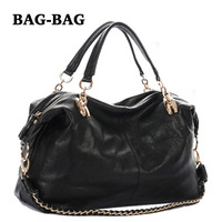 NEW Women Handbag GENUINE LEATHER Shoulder bags Large Chains Fashion totes REAL skin crossbody bag for girl Wholesale Black B162