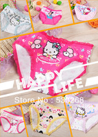 free shipping 6pcs/lot Cotton Stretch Lycra cotton hello kitty Children briefs girls briefs kids pants