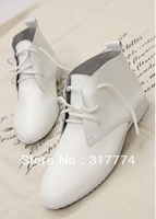 free shipping 2013 boots street fashion ankle boots genuine leather flat heel women's shoes single shoes high-top shoes