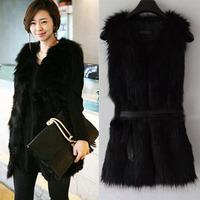 2014 New Women Winter Fashion Warm Faux fox Fur Long Vest Jacket Coat Plus size Fur vests Waistcoat With Belt Black/White/ Khaki