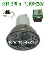 10pcs/lot GU10  3W 3X1W  270lm   Led spotlight    Cast Aluminum AC100-250V
