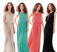1 Piece Free Shipping Bohenmia Pleated Wave Lace Strap Princess Chiffon Maxi Long Dress,8 Colors,4 Size W3223