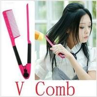 DIY Salon Folding Hair dress Hairdressing Styling Hair Straightener V Comb Tool wholesale