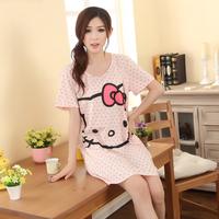 SO CUTE Cotton Pink Bow Star Cat Girl's Short-sleeve Cartoon Loose Sleepwear Nightgown Lounge Pajama Nightwear Night Dress