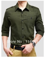 2014 new spring men's long shirt  Fabric  cotton Military Style Turn-down Collar shirts   (C0245)