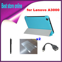 OTG Cable + Stylus Pen + 2xScreen Protector + 7 inch 3 Fold Leather Case for Lenovo Idea Pad A3000 Free Shipping
