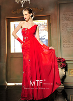 Free Shipping L1349 Fashion Red Wedding Dress Toast Clothing Long Section Of The Strap Deep V 2013 New+100%Chiffon