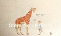 10PC 20*30cm The giraffe  Hand Painting Dyeing Natural Cotton Linen Canvas Handmade DIY Patchwork Fabric Mix Order
