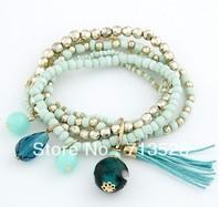 Bohemia style beads beads mixed fringed multilayer Bracelet