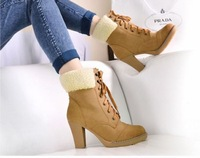 Free shipping 2013 new autumn and winter season boots with thick heels retro round Martin boots Korean women's boots