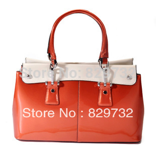 Free shipping 2013 Women's handbag genuine leather cowhide japanned leather bags fashion motorcycle bag handbag candy color