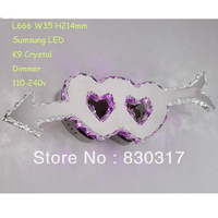 Free shipping/Moden/ Hi-quality/Wall Light/Real K9 Crystal/Heart To Heart design/ Samsung LED/110-240V/mirror stainless steel/
