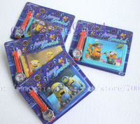 Cute 10 sets Despicable Me Watches wristwatches with XMAS Gift + Purses Wallets Free shipping!