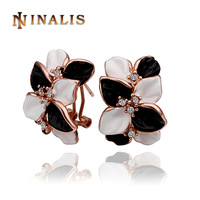Free Shipping 2014 New Arrival Rose Gold Plated Austrian Crystal Flower Earring, 18K Gold Plated Earring, Rhinestone SWA Element