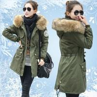Dropshipping New Winter Women's Fleece Parka Warm Coat Hoodie Overcoat Long Jacket Army Green Free shipping