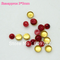 Free Shipping-Red 3*3mm 200pcs/lot(100pcs Turquoise Jelly Stone+100pcs metal base) Nail Jewelry Flat Rhinestones Decorations