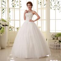 2015 bride princess sweet brief tube top slim strap wedding dress