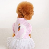 Free Shipping 2013 Lefdy New Little Swan dogs skirt dog clothes pet swan skirts puppy clothes dog dress pet pink red black