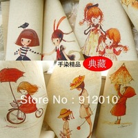 10PC 30*30cm Girl feelings Hand Painting Dyeing Natural Cotton Linen Canvas Handmade DIY Patchwork Fabric Mix Order