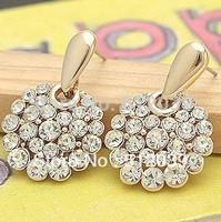 Double Layer White Stones Rhinestone Drop Earrings 18K Real Women Anti-Allergic Austria Crystal Gold Plated Dangle Earrings Gift