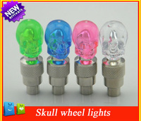 Free shipping Skull Type Car LED Tyre Wheel Valve Cap Light , Auto drl Led Daytime Running Lights for Car Rims