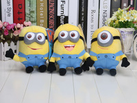 9pcs (1set=3pcs )Despicable Me 2 7inch Despicable Me Minion Plush Doll toys 3D eyes