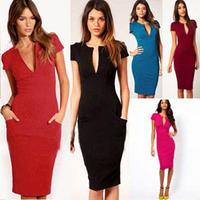 New V-Neck Fashion Work Sliming Knee-Length Pocket Party elebrity Pencil dresses