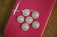 Free shipping  1000pcs/lot 12mm pearl white color sunflower shape  flatback imitation pearl beads,DIY Garment Accessory