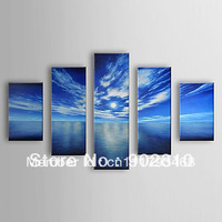 [listed in stock]-5pcs/set Free shipping Pure Hand Painted Landscape Blue Sea and Sky  Stretched Frame Read to Hang Oil Painting