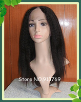NEW Style 10-24 inch Kinky Straight Brazilian Lace Front U Part Human Hair Wigs Free Shipping