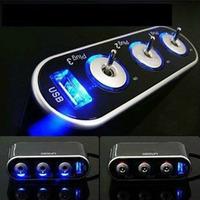 3 Way Triple Car Cigarette Lighter Socket Splitter 12V/24V +USB+LED Light Switch Freeshipping Feida Feida
