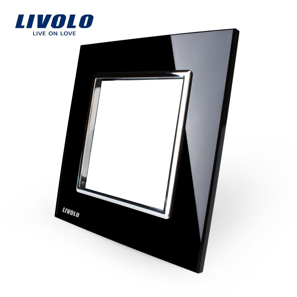 Livolo роскошный черный жемчуг хрусталя, 80 мм * 80 мм, Стандарт ес DIY часть переключатель гнездо, Одноместный стеклянная панель, Vl-c7-sr-12 вентилятор напольный aeg vl 5569 s lb 80 вт